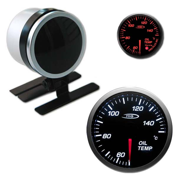 Pro+ black face oil temp gauge – stepper motor
