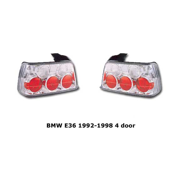 Clear tail lights BMW E36 4 door 1992-1998 chr
