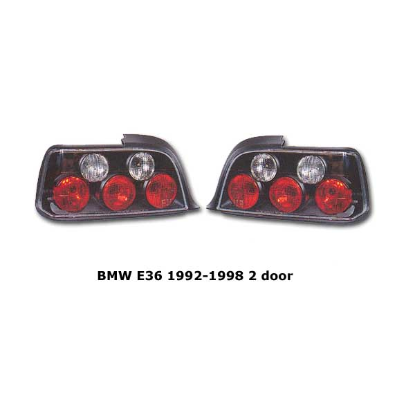 Clear tail lights BMW E36 2 door 1992-1998 blk