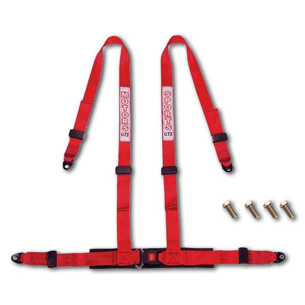 Racing style harness 4-point RED